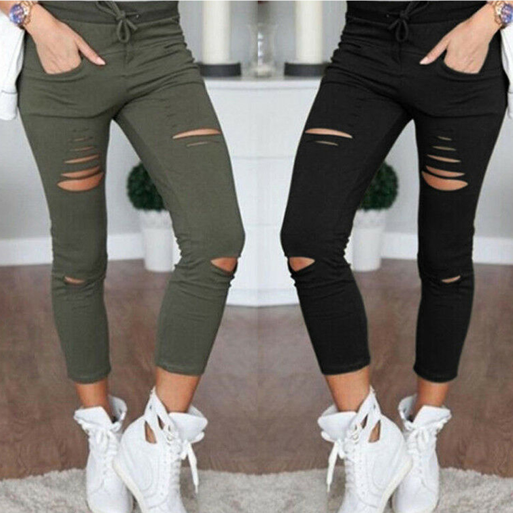 2020 Cargo Pants Women Fashion Slim High Waisted Stretchy Skinny Broken Hole Pencil Pants Solid Color Streetwear Trousers Womens