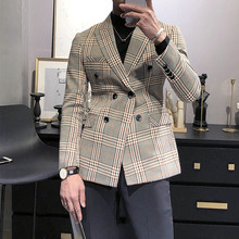 Double Breasted Blazers Mens Plaid Fashionable Jackets For Mens Gentlemen 2021 British Style Check Blazers Mens Americana Hombre