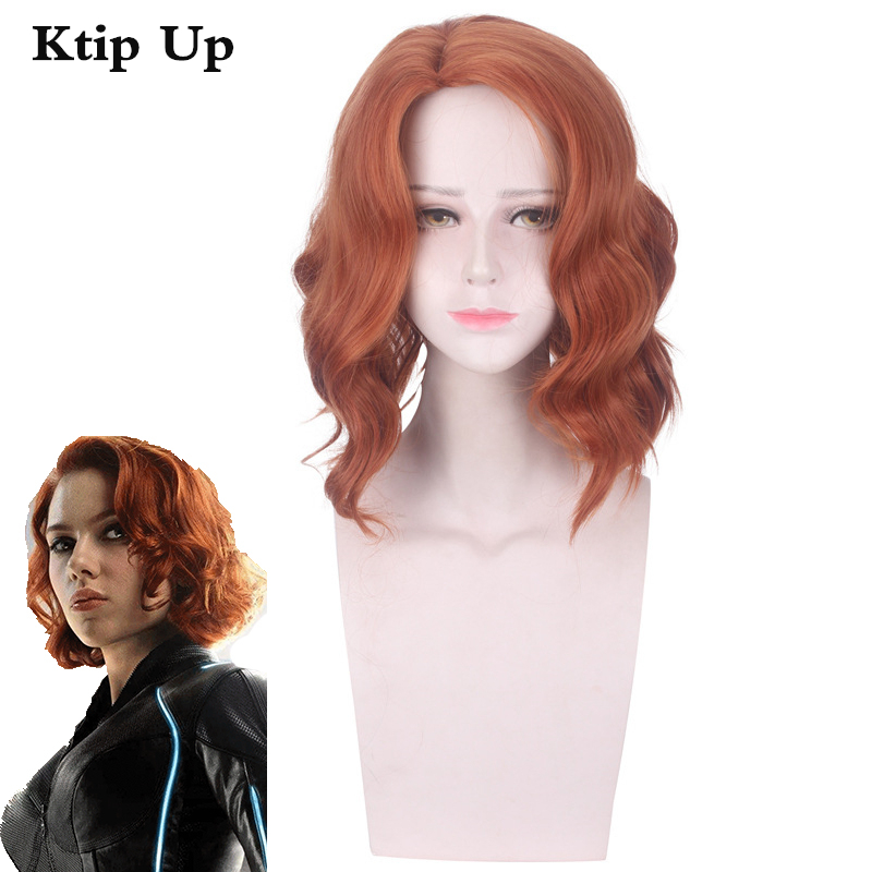 Black Widow Wig Around Marvel Film The Avengers Halloween Cosplay Stage Performance Prop Accessories Wigs Gift image