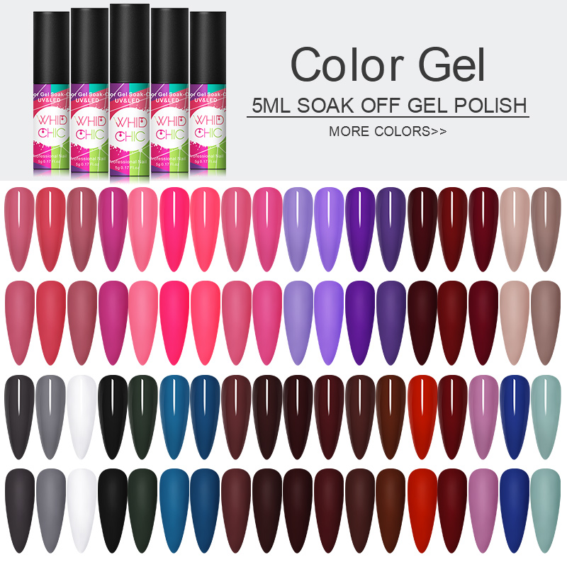 1 Bottle 5ml WHID CHICL Gel Polish Soak Off Pink Purple Blue Colorful UV Soak Off Gel Varnish Nail DIY Beauty Design  Varnish