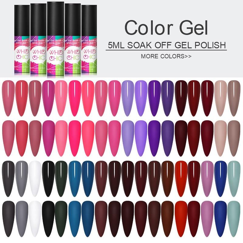 1 Bottle 5ml WHID CHICL Gel Polish Soak Off Pink Purple Blue Colorful UV Soak Off Gel Varnish Nail DIY Beauty Design  Varnish