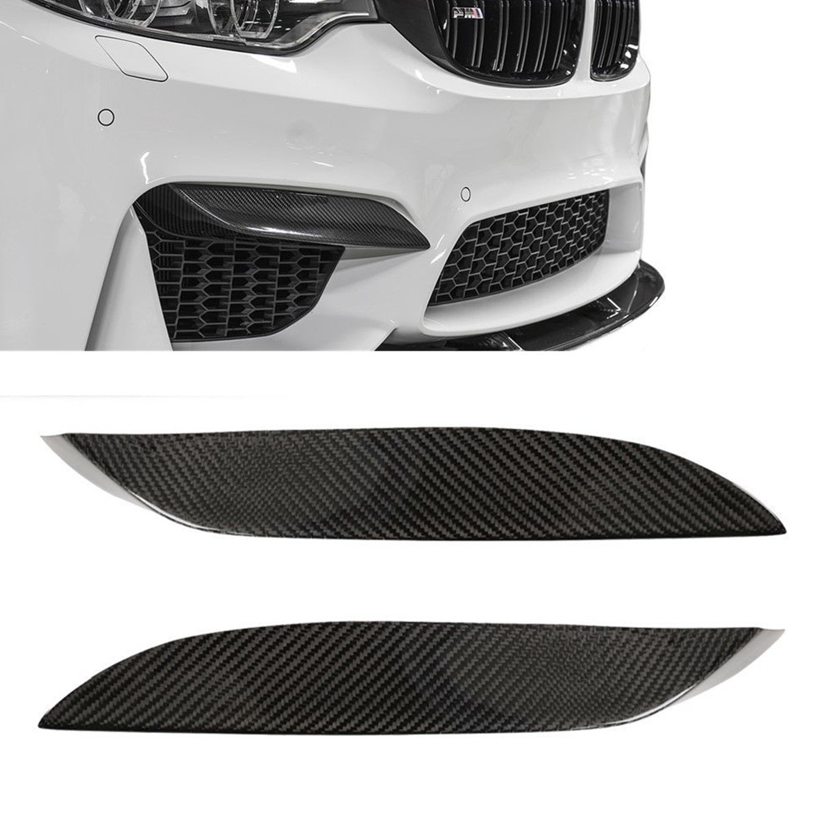 2PCS Real Carbon Fiber Car Front Bumper Lip Diffuser Upper Side Splitter Canards Lip Trim For BMW F80 M3 F82 F83 M4 2015-2018 image