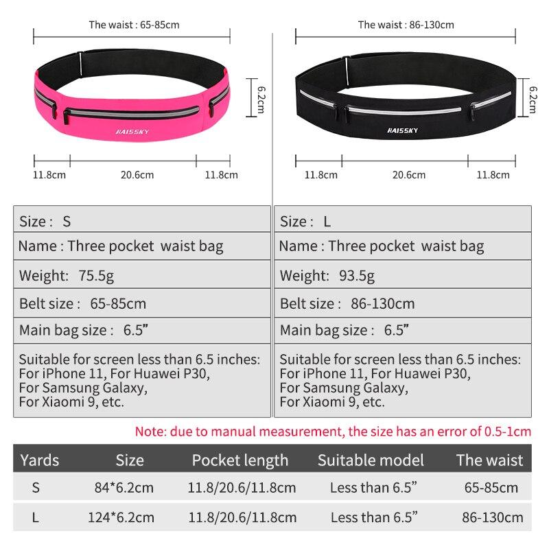 Ultra-thin Waterproof Belt Waist Bag 48*11*1cm for 6.5/'/' Phone Sports Running