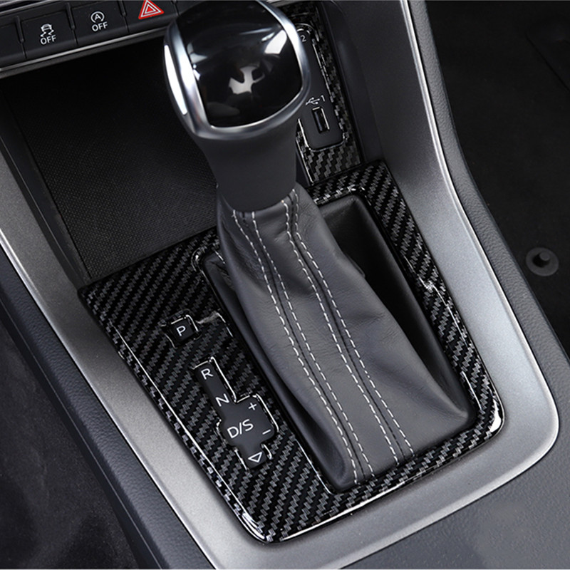 AIRSPEED Carbon Fiber Gear Shift Knob Cover Sticker Interior Trim for Audi Q3 2013 2014 2015 2016 2017 2018 Accessories