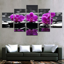 Canvas HD Prints For Living Room Home Decor 5 Pieces Spa Stones Moth Orchid Flowers Paintings Art Poster Framework(China)