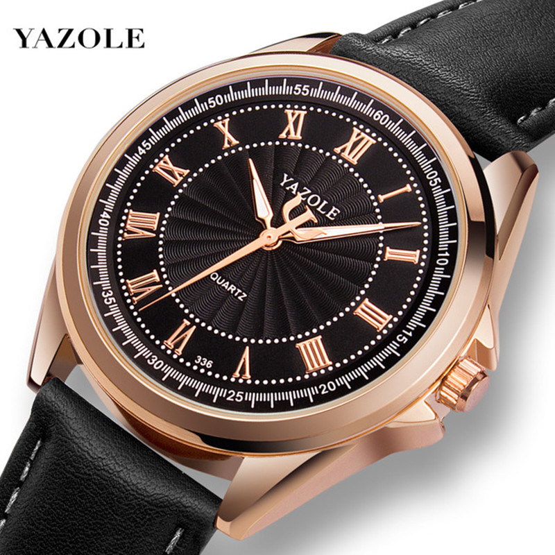 YAZOLE New Men Watch Top Brand Luxury Fashion Wrist Watch For Men Rose Gold Case Relojes Hombre 2019 Clock Drop Shipping Hodinky