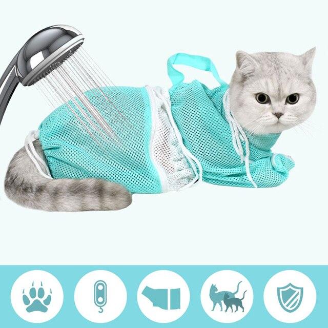 Factory Mesh Cat Bath Care Sanitary Bag No Scratches Bite Cats Articles Cutting Nails Kedi Kumu Kum Sand Scoop pet shower 3