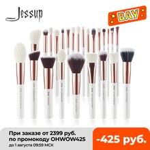 Jessup pincéis de maquiagem conjunto 6-25 pces pérola branco/rosa ouro profissional compõem escova cabelo natural fundação pó blushes