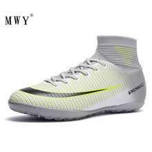 MWY High Top Ankle Football Boots Kids Turf Soccer Shoes Athletic Training Sock Cleats Zapatos De Futbol Indoor Sneakers Men