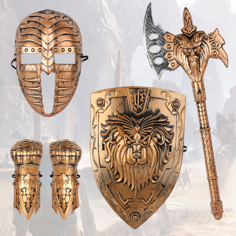 Children Toys Imitation Bronze Battle Gear Roman General Cosplay Mini Wrist Shield Mask Axe Kids Boy Gift Plastic 5pcs Suit