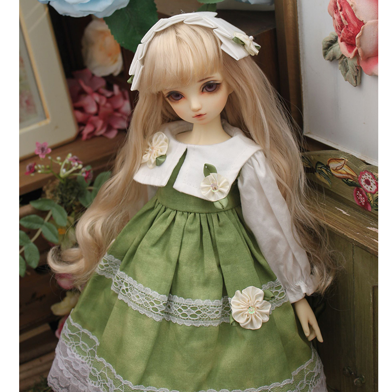Doll dress green color dress with flowers decoration BJD dress + hair band for 1/3 1/4 1/6  BJD SD DD Blyth doll accessories