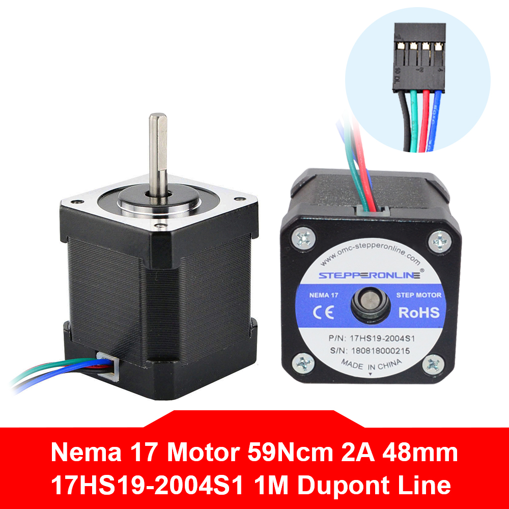 Free Shipping Nema17 Stepper Motor 42BYGH Motor 48mm 2A 17HS19-2004S1 Nema 17 Motor 4-lead For 3D Printer Motor