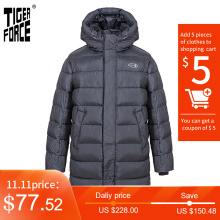 TIGER FORCE 2020 New Winter Jacket For Men Long black Warm Male Sports Casual Casual