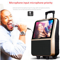 Bluetooth phone sync audio WiFi video player portable karaoke MP3 players portable Pull rod outdoor speaker stereo FM subwoofer