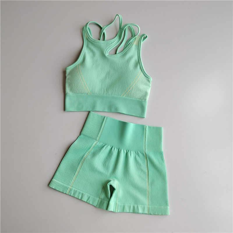 Workout Kleidung Frauen Nahtlose Yoga Sport Anzüge Sport Bh Top + Hohe Taille Fitness Shorts 2 Piece Turnhalle Set Lauf sportswear
