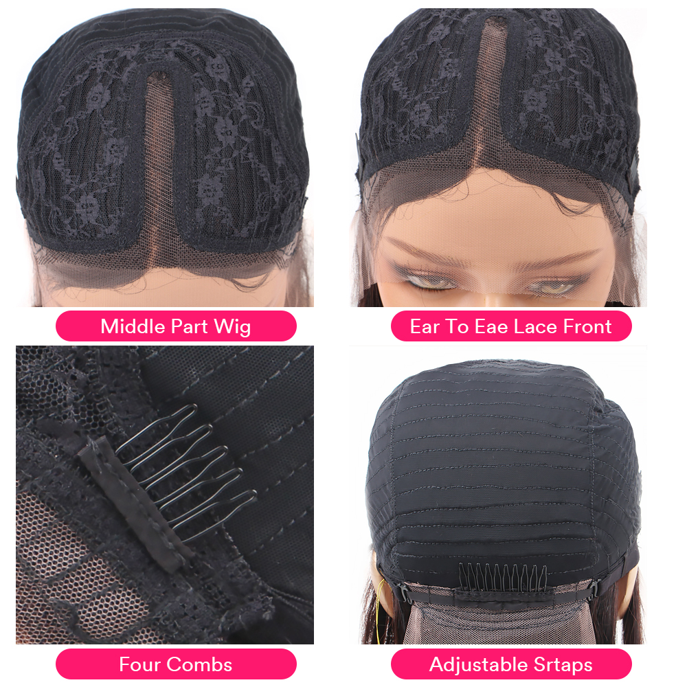 Straight Lace Part  Wigs 13x1 Lace Front Hair Wigs with Baby Hair Pre Plucked  Hair 150% Density 2