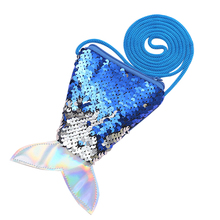 Fish Tail Cute Money Bags Zipper Coin Purses Girls Laser Sequin Kids Wallets with Shoulder Strap Fashion Small Purse Lady Pouch