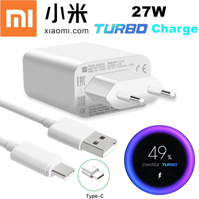 Xiaomi 27W Fast Charger QC 4.0 Turbo Charge Adapter Usb C for Mi 9 SE 9T 10 Note 10 pro A3 Redmi note 7 8 9 pro 9 s K20 k30 Pro