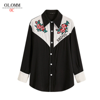 OLOMM SBD25 top quality Women's shirt D0Q55 Korean version autumn new Retro colorblock embroidery Shirt long sleeve