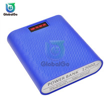 Power Bank 12000mAh 4x18650 Batteries Portable Charging PowerBank USB External Battery Charger Case For Phone jjz portable 6500mah external battery charger power bank for cell phone more yellow white