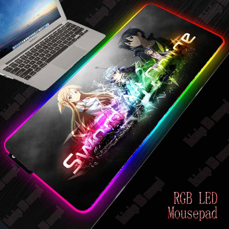 XGZ Sword Art Online RGB Gaming Large Mouse Pad Gamer Led Computer Anime Mousepad With Backlight Carpet For Keyboard Desk Mat