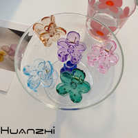 HUANZHI-horquilla de resina para el pelo para niña y mujer, accesorios coreanos adorables, coloridos, con flores transparentes, pinza para el pelo, 2020