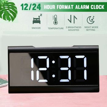 WEKKER cyfrowy budzik zegar biurkowy zakrzywiony ekran LED budziki temperatura w sypialni z funkcją drzemki Home Decor tanie i dobre opinie CN (pochodzenie) SQUARE DIGITAL 260g 175mm Zegarki z alarmem LUMINOVA 85mm Nowoczesne Funkcja drzemki Jedna twarz alarm clock digital