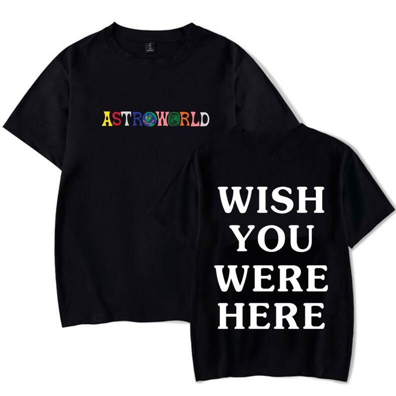 2020 New Fashion Hip Hop T Shirt Men Women Travis Scotts ASTROWORLD Harajuku T-Shirts WISH YOU WERE HERE Letter Print Tees Tops