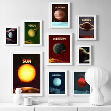 цена на Sun Mars Earth Venus Planet Solar System Wall Art Canvas Painting Nordic Posters And Prints Wall Pictures For Living Room Decor