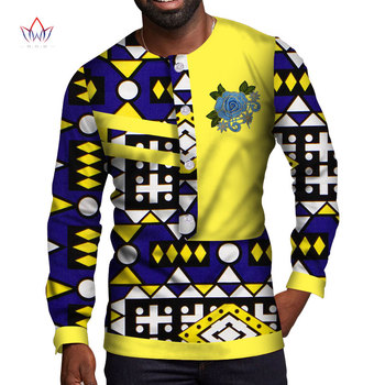 Summer African Style Men Clothes Embroidery Traditional Print Cotton Dashiki Shirt Long Sleeve Casual WYN1101