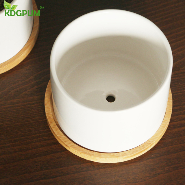 White Ceramic Flower Pot Succulent Flowerpot With Bamboo Bottom Tray Bracket Crafts Vase Office Garden Home Decoration Ornament 5