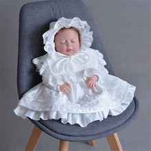 Dress Christening-Gown Tulle Lace Baby-Girls Long Baptism White with Headband Ivory Infant