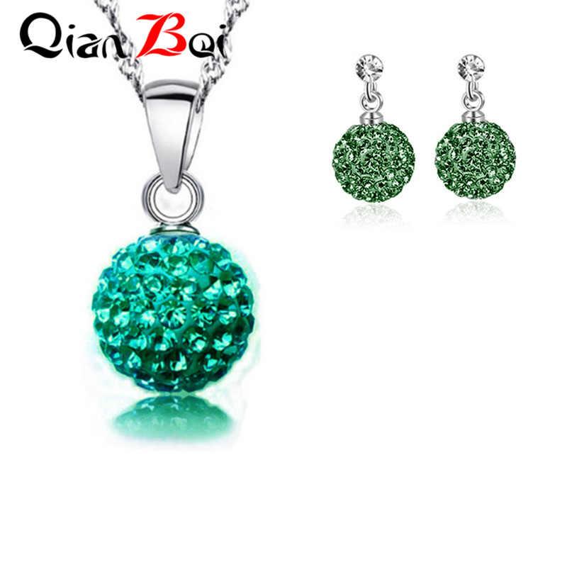QianBei חדש הגעה 13 צבע 10MM תליון שרשרת עגילי כדור קריסטל עגיל שרשרת סט לנשים תכשיטים מתנות
