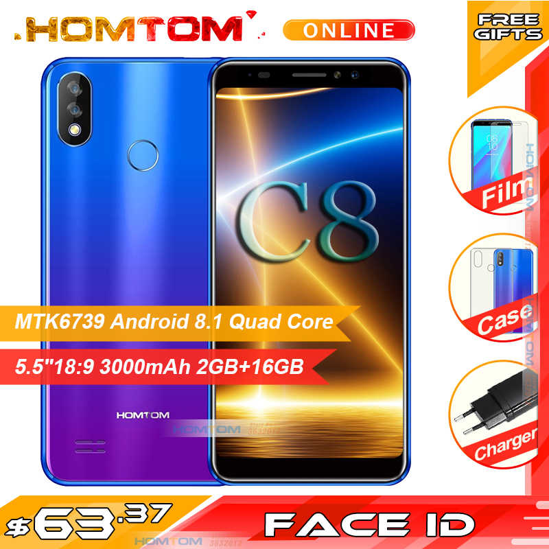 "Смартфон HOMTOM C8 5,5 ""HD + 4G, 3000 мАч, 2 Гб ОЗУ, 16 Гб ПЗУ, Android 8,1, четыре ядра, Face ID, две задние камеры, мобильный телефон"