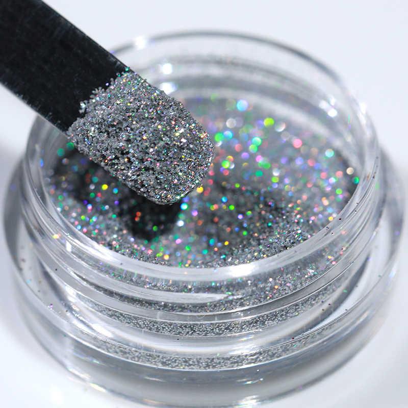 Gradien Kuku Berkilau Glitter Set Bubuk Laser Gemerlapan Manicur Kuku Seni Chrome Pigmen Perak DIY Dekorasi Nail Art Kit