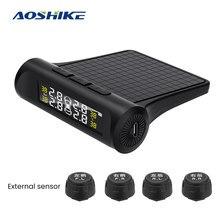 Aoshike tpms alarme de pressão dos pneus do carro sistema do monitor alarme segurança automática pneus pressão temperatura aviso com infineon