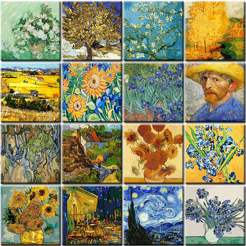 Abstract Oil DIY Van Gogh Lris Flowers Painting By Numbers Figure Kits Canvas Wedding Wall Art Picture Gift For Home Decoration