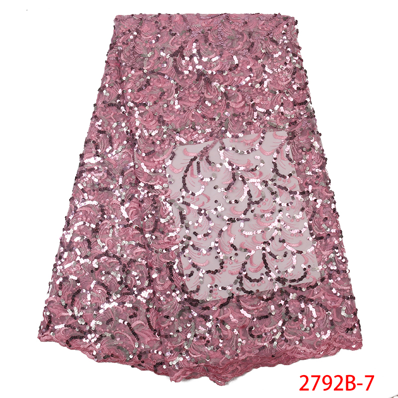 Hot Sale African Sequins Lace Fabric High Quaity French Tulle Fabric Lace Nigerian Net Laces Fabrics With Sequences KS2792B-7