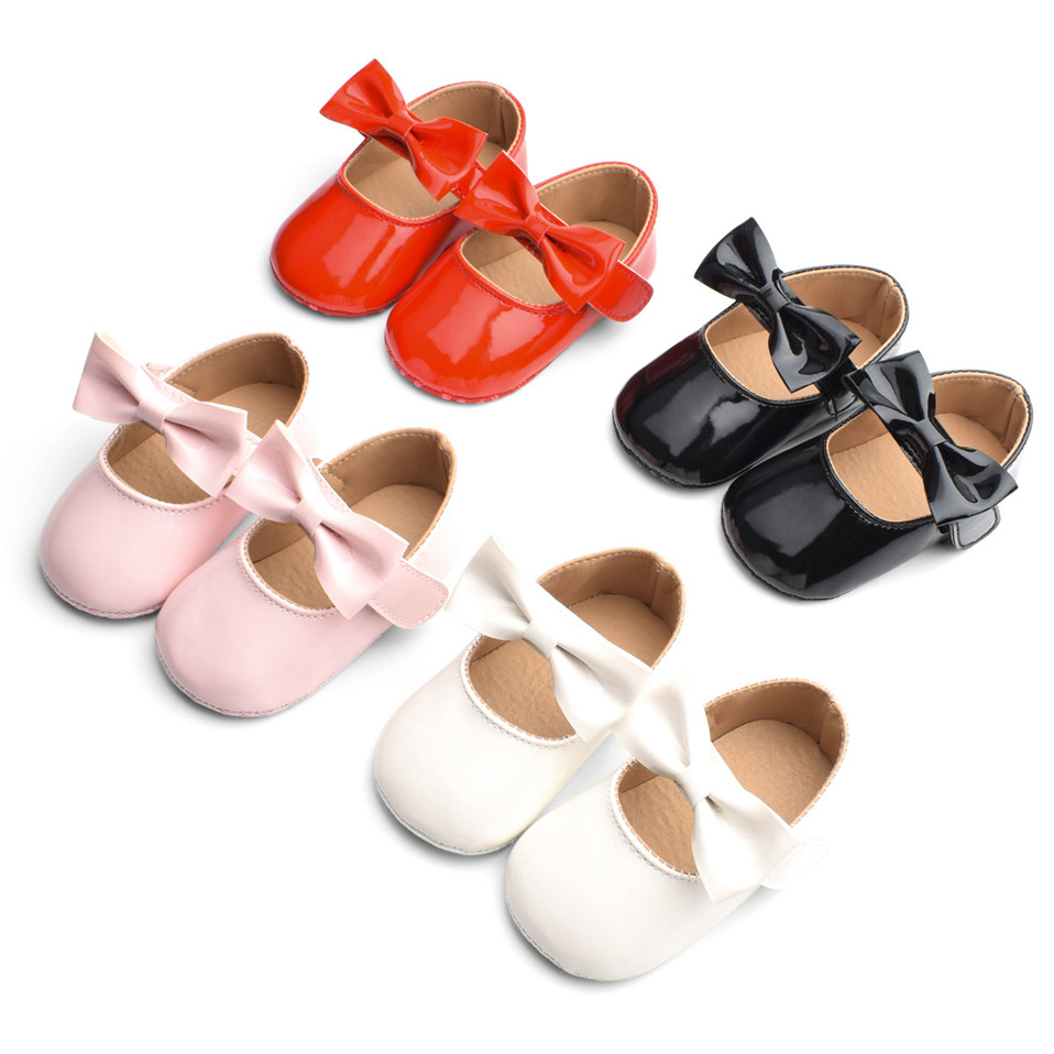 Newborn Baby Girls Shoes PU Leather Big Bow Princess First Walkers Soft Soled Non-slip Footwear Wedding Party Shoes