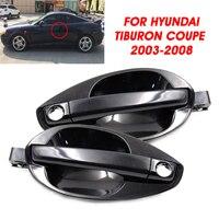 Autoleader 2 uds, embellecedor de manija de puerta delantera izquierda/derecha de coche, negro para Hyundai Tiburon 2003-2008 82650-2C000 82660-2C000