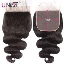 """Unice Haar Braziliaanse Body Wave 7 """"x7"""" Sluiting Gratis Deel Menselijk Haar Kant Sluiting 10 """" 18 """"zwitserse Kant Remy Hair Extension"""