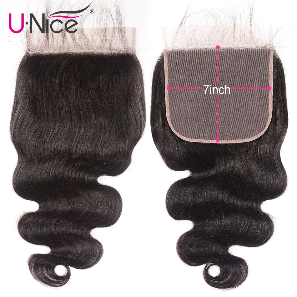 """Unice Hair Brazilian Body Wave 7""""x7"""" Closure Free Part Human Hair Lace Closure 10"""" 18"""" Swiss Lace Remy Hair Extension-in Closures from Hair Extensions & Wigs"""
