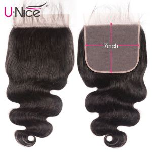 "Image 1 - Unice Hair Brazilian Body Wave 7""x7"" Closure Free Part Human Hair Lace Closure 10"" 18"" Swiss Lace Remy Hair Extension"