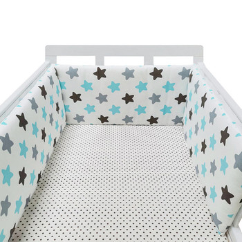 baby nursery Nordic Stars Design Baby Bed Thicken Bumper One-piece Crib Around Cushion Cot Protector Pillows Newborns Room Decor 11