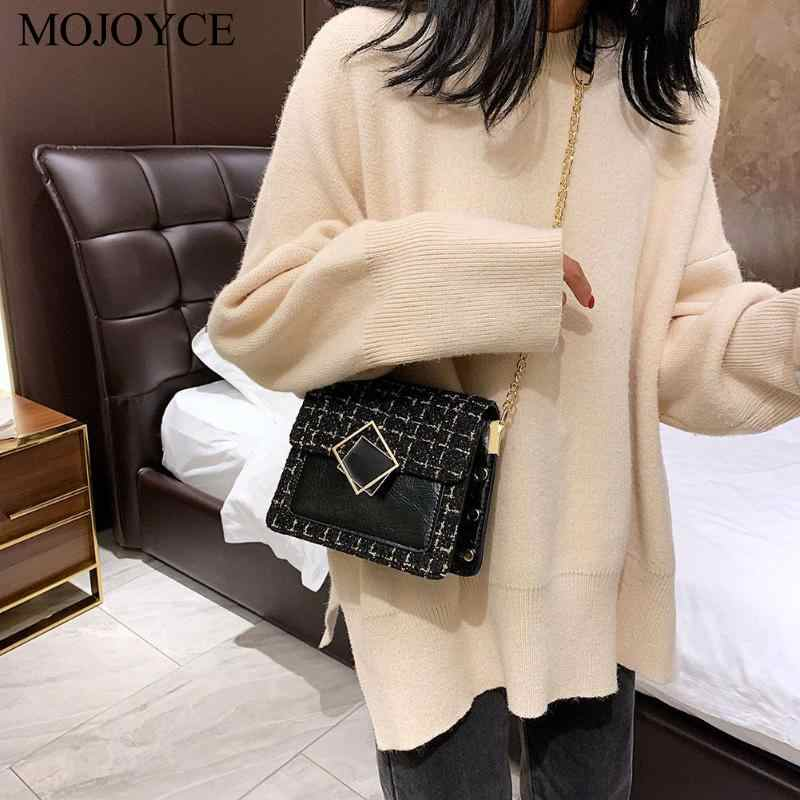 Leather Weave Travel Crossbody Bags For Women Fall Fashion Luxury Messenger Classic Special Lock Woolen Evening Party Handbag