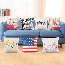 Cute Bird Print Pillow Case LED Lighting Linen Waist Cushion Cover Decorative Pillowcases Throw Pillow Cover 45*45cm Home Decor floral bird print decorative pillow case