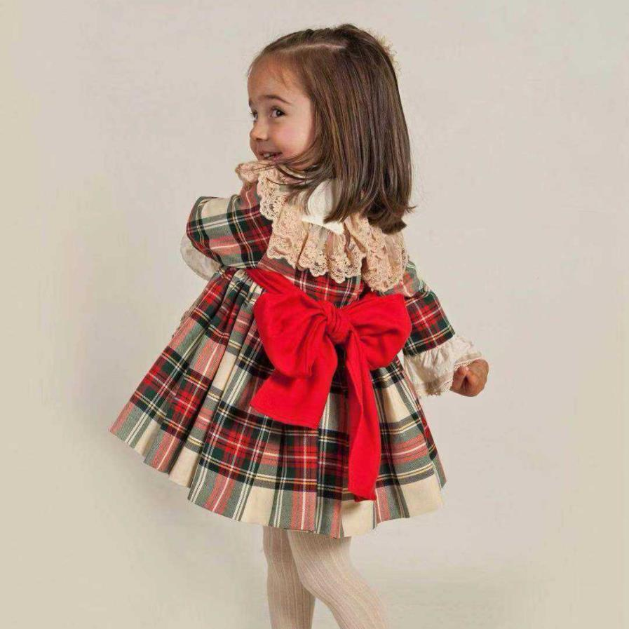 Fashion Womens Casual Dress Retro Lace Plaid Stitching Dress Hard ...