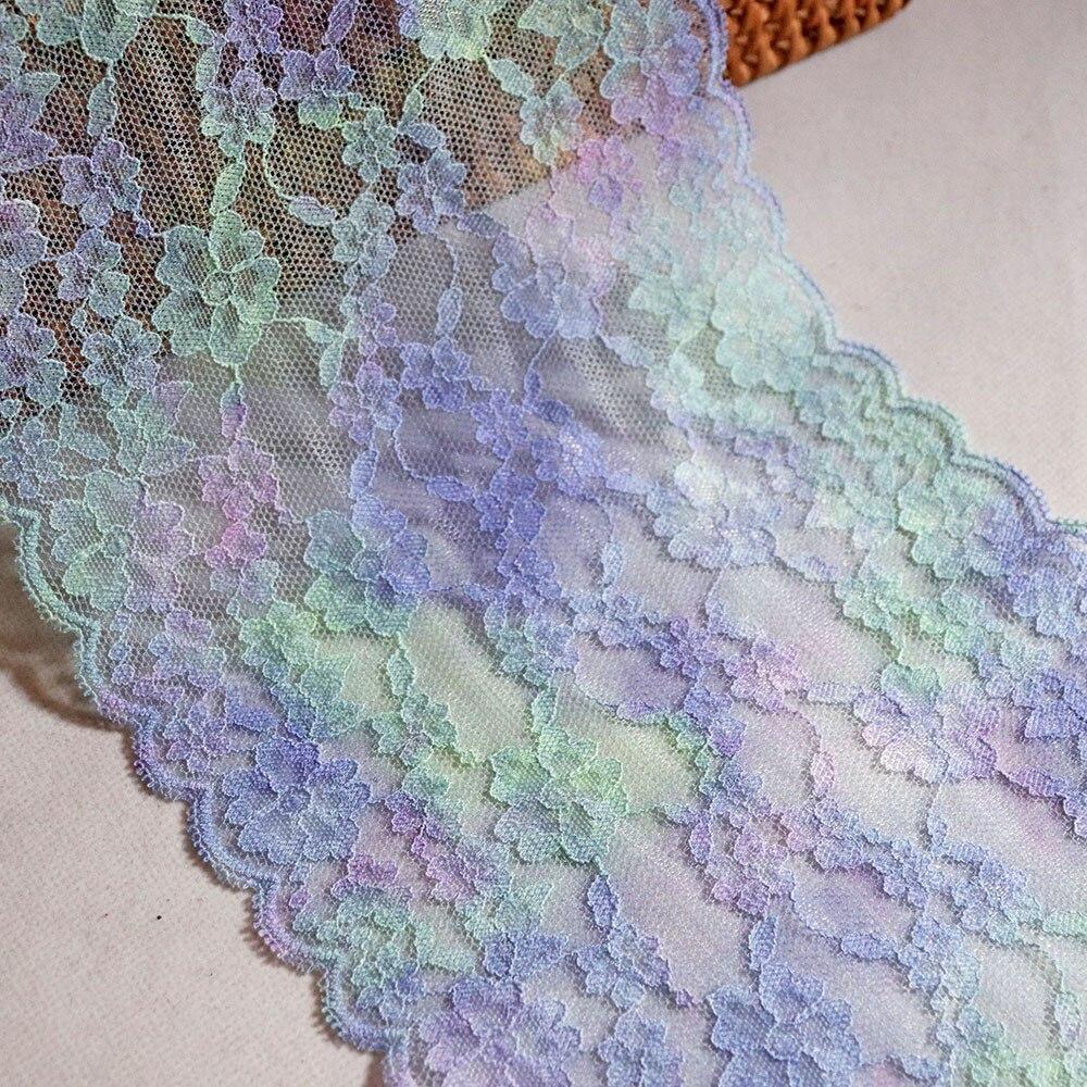 3YDS 17,5 см широкий цвет радуги вышивка эластичная кружевная отделка для бюстгальтера нижнее белье швейная одежда нижнее белье ткань аксессуа...