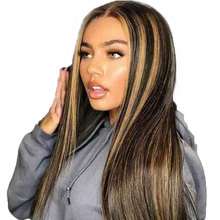 Blonde Human-Hair Lace-Front Brazilian Wig Brown Straight Highlight Mix Pre-Plucked 13x6