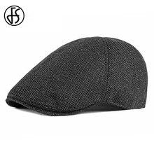 FS берет в стиле винтаж Кепка для мужчин британский стиль Хлопок Зима плоская кепка s Классический Черный Белый Осень плюща